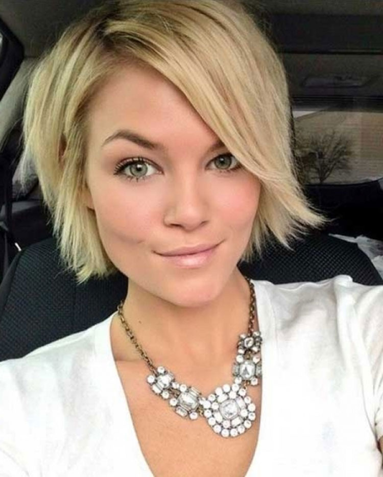 Short Bob Hairstyle With Side Swept Bangs